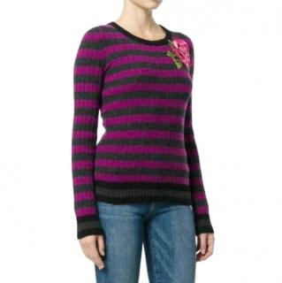 Dolce & Gabbana Floral Embroidered Cashmere Knit Top