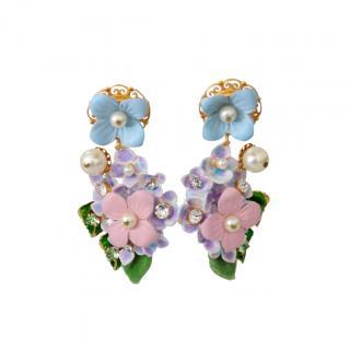 Dolce & Gabbana Hortensia Floral Drop Earrings