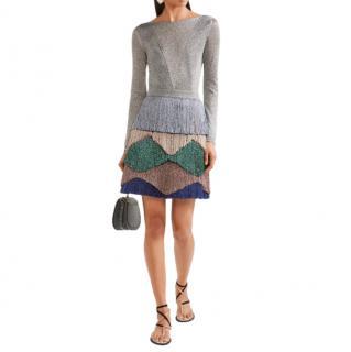 Missoni Fringed Metallic Knitted Mini Dress