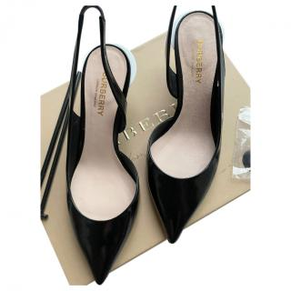 Burberry Black Patent Leticia Slingback Sandals