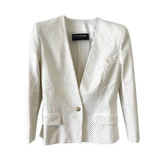 Balmain White Crystal Embellished Collarless Blazer