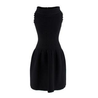 Alaia Textured Wool Black Fitted Scalloped Mini Dress