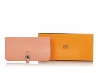 Hermes Peach Leather Dogon Long Wallet
