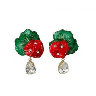 Dolce & Gabbana Crystal Flower Earrings