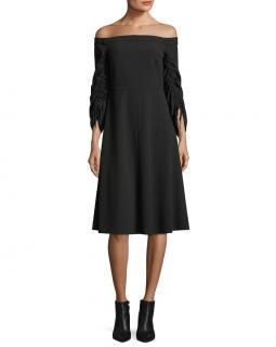 Tibi Black Off-Shoulder Crepe Dress