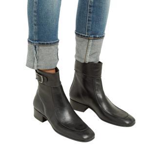 Saint Laurent Black Square Toe Miles Ankle Boots