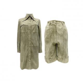 Chanel Green Suede Manifesto Collection Jacket & High Waist Shorts