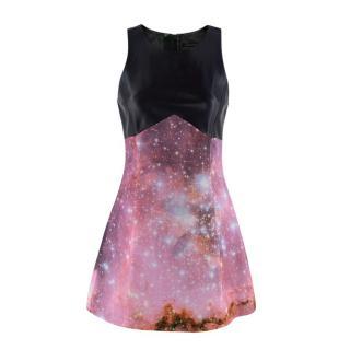 Christopher Kane Galaxy Print Leather Paneled Mini Dress