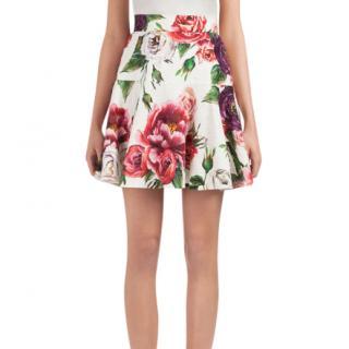 Dolce & Gabbana Peony-print A-Line Brocade Skirt