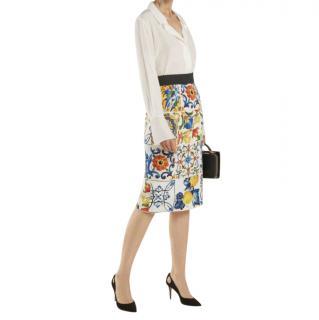 Dolce & Gabbana Majolica Print Pencil Skirt