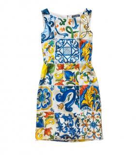 Dolce & Gabbana Majolica Print Sleeveless Silk Dress