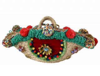 Dolce & Gabbana Raffia Pom Pom Basket Bag