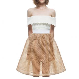 Self-Portrait Natural Perforated Off-the-shoulder Dress