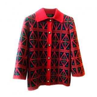 Chanel Red & Green Paris/Salzburg Cashmere Cardigan