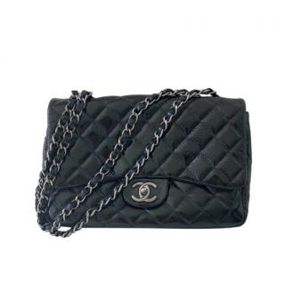 Chanel Vintage Glossy Quilted Leather Maxi Flap Bag
