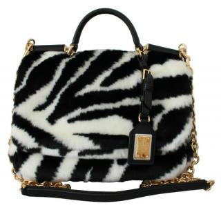Dolce & Gabbana Faux Fur Zebra Sicily Bag