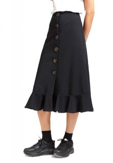 A.W.A.K.E Black Button Down Midi Skirt