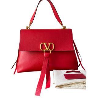 Valentino Garavani Red Leather Small VRing Shoulder Bag