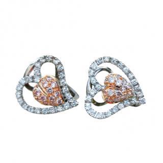 Leo Pizzo 18ct White Gold Pink & White Diamond Openwork Heart Earrings