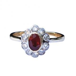 David Simmons Ruby & Diamond Yellow Gold Flower Ring