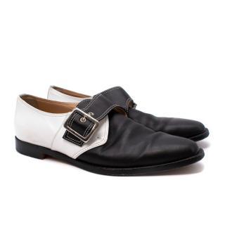 Manolo Blahnik White & Black Leather Buckled Slip-On Shoes