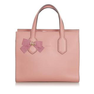 Gucci GG Ribbon Pink Japan Edition Leather Tote Bag