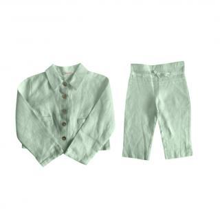 Cacharel Mint Green Linen 6-9M Top & trousers