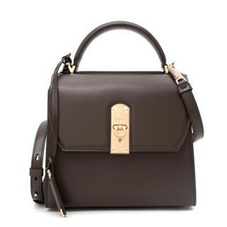 Salvatore Ferragamo Medium Dark Brown Boxyz Leather Box Bag