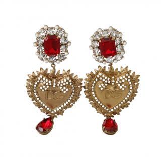 Dolce & Gabbana Crystal Heart Drop Earrings