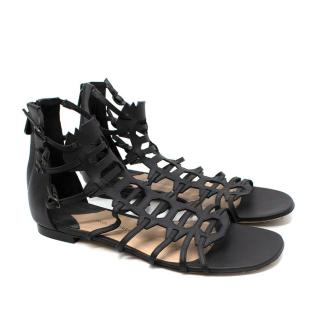Paul Andrew Black Flat Gladiator Sandals