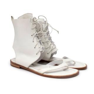 Manolo Blahnik White Lace Up Cut-Out Flat Sandals