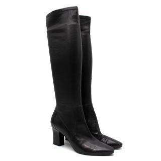 Tamara Mellon Black Helmut Knee High Stretch Nappa Boot