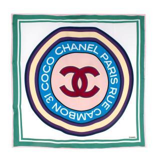 Chanel Rue Cambon CC Print Silk Square Scarf 90