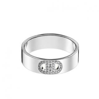 Hermes White Gold Diamond H d'Ancre Ring - Small model