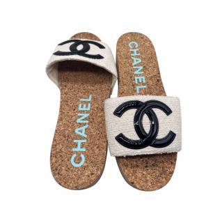 Chanel Tweed CC Platform Mules