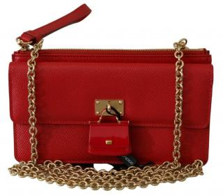 Dolce & Gabbana Red Dauphine Leather Phone Bag with Sicily Charm