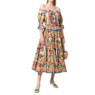 Dolce & Gabbana Carretto Siciliano Print Off-Shoulder Dress