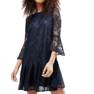 Ganni Navy & Black Larkin Lace Dress