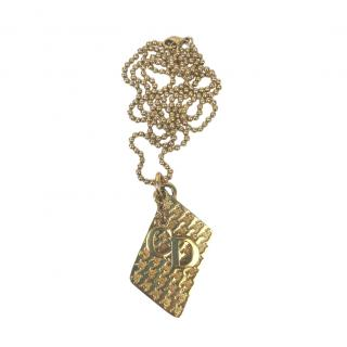 VIntage Dior Gold Tone Textured Dog Tags Style Necklace