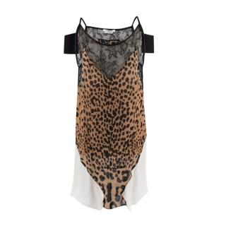 Givenchy Silk Animal Print Lace Trim Mini Slip Dress