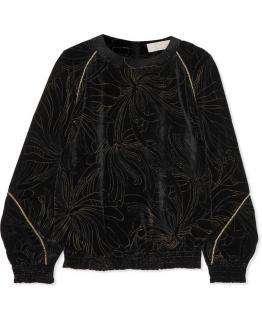 Chloe Black & Gold Velvet Smocked Sweatshirt