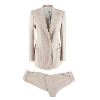 Agnona Beige Cashmere & Silk Blend Lightweight Suit