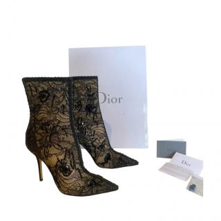 Dior Pampille Black Lace Ankle Boots