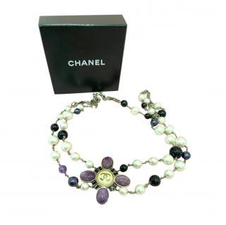 Chanel purple , blue and white gemstone belt/necklace