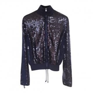 Chanel Navy Blue Sequin Bomber Jacket