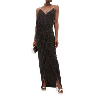 Balmain Printed Ruched Chain Strap Gown