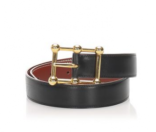 Hermes Vintage Black Leather Belt - Size 70