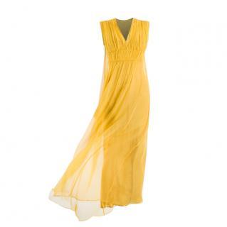 Max Mara Yellow Silk Chiffon Gown