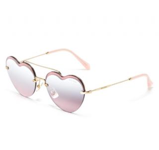 Miu Miu pink mirror heart sunglasses