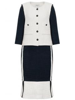 Chanel black and white tweed skirt suit with floral buttons